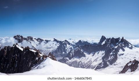 Snowy Mountaintop Peaks in Winter