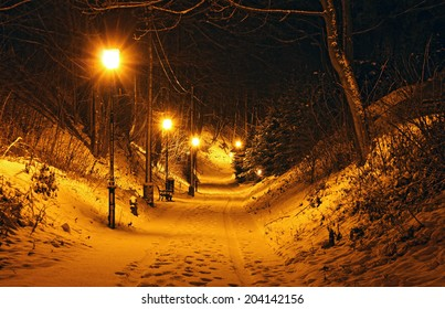 Snowy park at night, Srebrna G�³ra, Poland