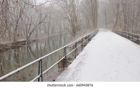 A snowy path along a canal in Stockton, New Jersey.