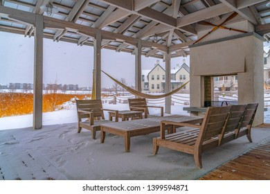 Snowy patio of a clubhouse in Daybreak Utah
