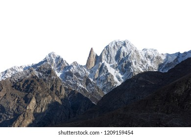 Snowy peak isolated over white background.