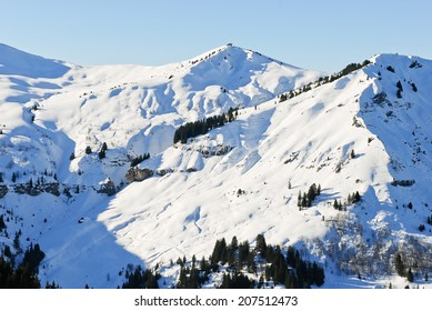 snowy peaks of Alps mountains in Portes du Soleil region, Morzine - Avoriaz, France