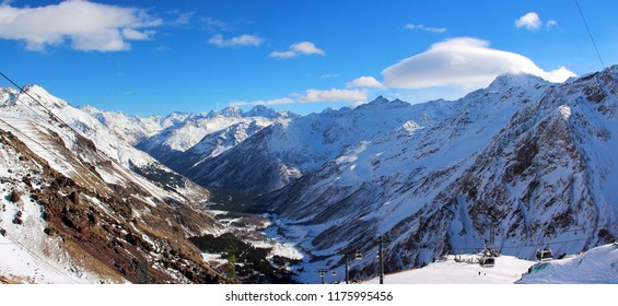 The snowy peaks of the Caucasus Mountains