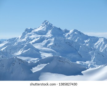 Snowy peaks of mount Elbrus on a bright cloudless day