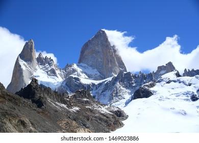 Snowy peaks of Mount Fitz Roy, Argentine Patagonia, Argentina.