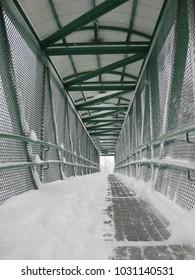 Snowy Pedestrian Overpass