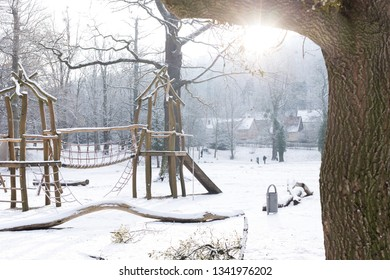 A snowy Playground in the city Park in Wernigerode when the weather is nice
