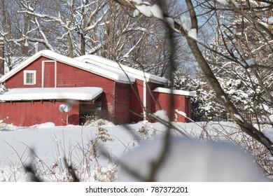 Snowy Red Barn