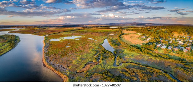 Snowy River Estuary at sunset - wide aerial panoramic landscape. Marlo, Australia