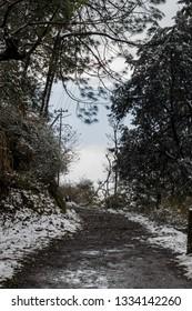 Snowy road at kasauli