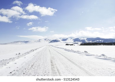 snowy road and landscape