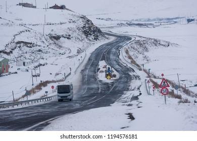 Snowy roads between Kars and Ardahan - Turkey