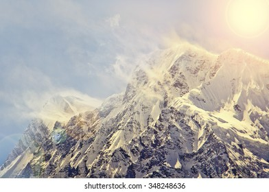 Snowy rocks in Himalaya summit outdoor photography from Nepal