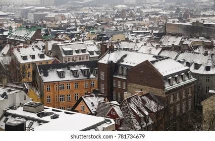 Snowy rooftops in Copenhagen