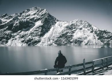 Snowy scenic mountain landscape in Kuhtai, Austria alps