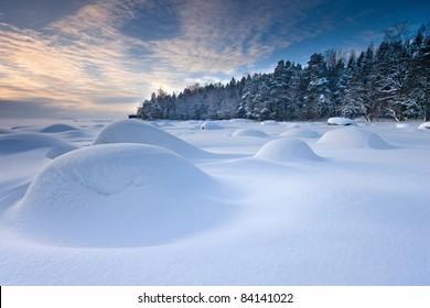 Snowy seascape in the winter morning in Helsinki