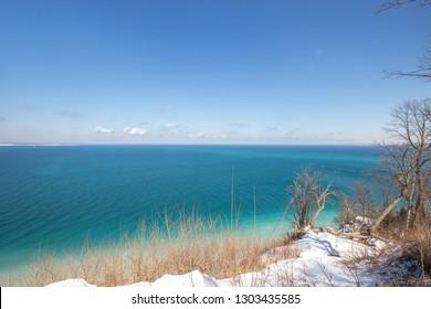 Snowy Sleeping Bear Dunes along the shoreline of Lake Michigan near Traverse City Michigan
