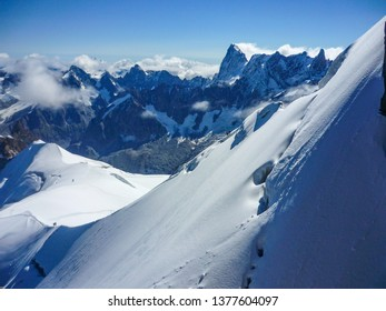 Snowy slopes of Mont Blanc