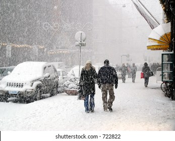 Snowy street with Christmas tree in Helsinki, Finland