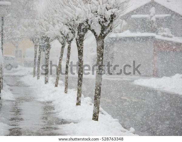 snowy street city