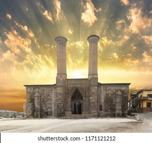Snowy Sunrise, SunriseTwin Minaret Madrasa, Erzurum, Turkey