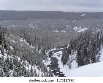 Snowy valley with river - Yellowstone National Park, USA
