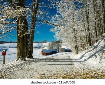 Snowy Vermont Farm Landscape