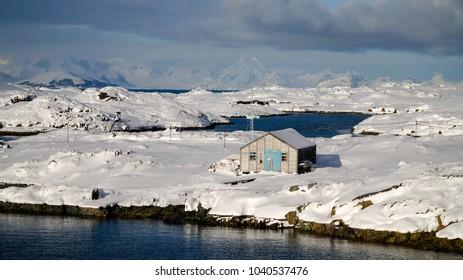 Snowy Vernadsky station in Antarctica.