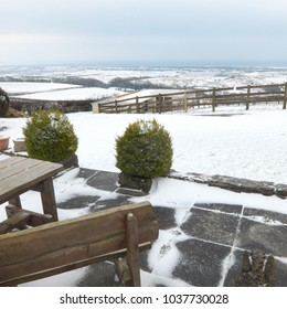 A snowy view towards the marshes at Laugharne, Carmarthenshire, Wales, UK.