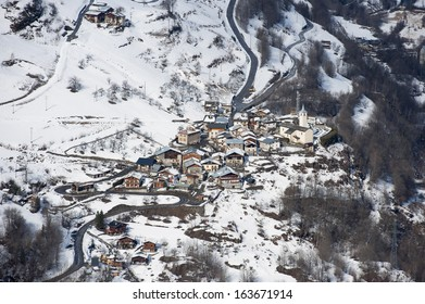 snowy village in the mountains