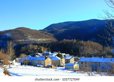 snowy village in Pyrenees, Aude in south of France