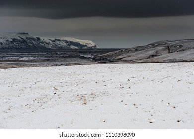 snowy weather in desolate area, iceland april 2018
