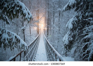 In the snowy winter forest hangs a rope bridge. At the end of the way a lamp lights up. Snowy fir trees line the path. Bridge from the Rothaarsteig in Sauerland, Germany.