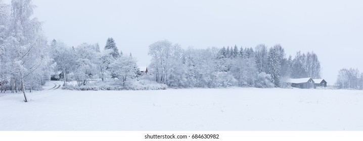 Snowy winter landscape countryside