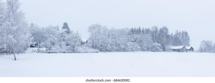 Snowy winter landscape countryside