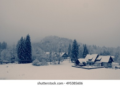 Snowy winter landscape in the countryside on a cloudy, foggy day. Monochrome image filtered in retro, vintage style with soft focus, red filter and some noise. Bohinj village, Slovenia.