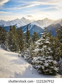Snowy winter landscape on the summit of Sulphur Mountain in Banff National Park, Canada