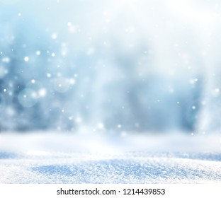 Snowy winter landscape,fir pine forest blurred background.Christmas backdrop.