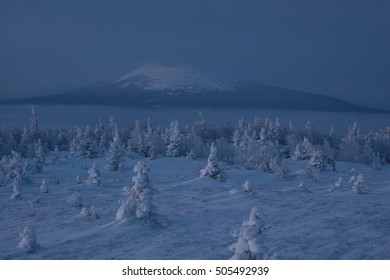 Snowy winter in a national park Taganay, South Urals.