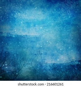Snowy Winter Night Grunge Texture  Abstract grunge abstract snowy winter night background with some noise and canvas texture