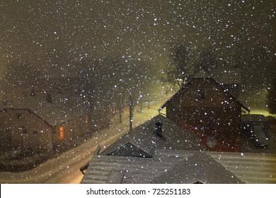 Snowy winter night in small town near Sarajevo , Bosnia and Herzegovina