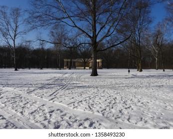 Snowy Winter in Park. Zdrowie Park in Lodz, Poland. - Shutterstock ID 1358493230