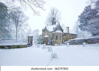 A snowy winter scene near Painswick in the heart of the Cotswolds, Gloucestershire, England, United Kingdom