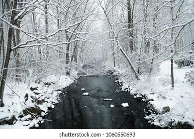 A snowy winter scene in New England