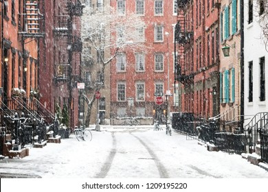 Snowy winter scene on Gay Street in the Greenwich Village neighborhood of Manhattan in New York City