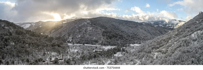 Snowy Winter Sunrise in Chilean Andes Mountain Forest Lonquimay Valley