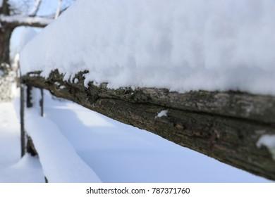 Snowy Wood Fence