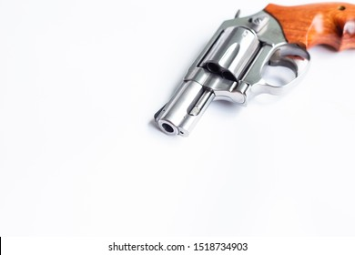 Snubbed .357 .44 magnum conceal revolver gun on white background, Crime concept