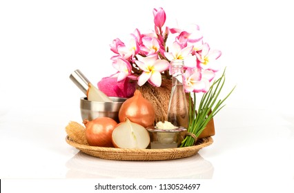 Soak hair with onion and coconut oil for scalp and anti-bacterial and dandruff.
