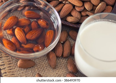 Soaked almonds and homemade almond milk